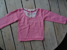 Pull coton rose col rond style chemisier à fleurs SHINY Taille 4 ans