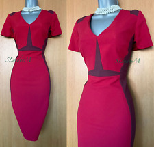 KAREN MILLEN UK 14 Red Tonal Panel Claret Block Formal Pencil Wiggle Dress EU 42