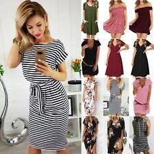 Womens Ladies Short Sleeve Midi Dress Summer Casual Striped Mini Shirt Dresses