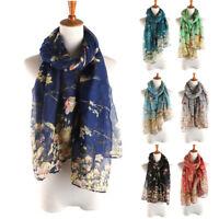 Women Long Shawl Warm Wrap Shawl Scarves Floral Bird Printed Elegant Scarf  NEW