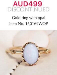 Genuine Pandora 14ct Gold Ring With Opal, 150169WOP, Size 56