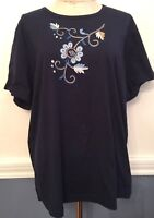 2X Indigo Moon New NWT Women's Plus Size Navy Blue Embroidered Floral Tshirt