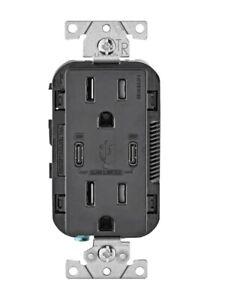 Leviton T5632-BE USB Charger/Tamper Resistant Outlet - Black