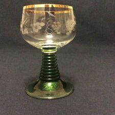 Verre à vin Roemer hauteur 10,6cm en cristal soufflé à décor de vignes Alsace XX