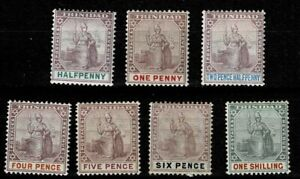 TRINIDAD 1896 SET TO 1s MOUNTED MINT