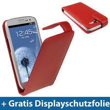 Rot Leder Tasche Flip für Samsung Galaxy S3 III i9300 Android Schutz Hülle