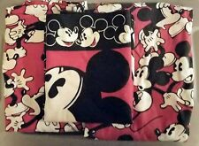 Mickey Mouse Twin Fitted Flat Pillowcase Bed Sheets Red and Black Disney