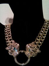 Necklace Butler and Wilson style Vintage double Chain Head Leopard Panther Gold