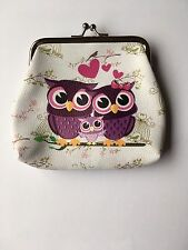 Ladies Women's White Faux Leather Vintage Coin Hasp Purse With Three Owl Design