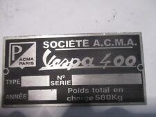 Panneau Type s48 Panneau Vespa 400 Acma A. c. avec A.Paris Voiture Ancienne
