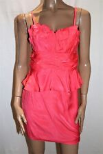 EF Collection Brand Coral Pink Peplum Dress Size M BNWT #TG02