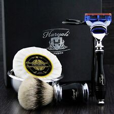 Top Men's Shaving Set ft Gillette Fusion & Silver Tip Brush Gift Kit for HIM