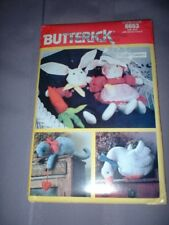 BUTTERICK PATTERN 6653 ~ STUFFED COUNTRY ANIMALS & CLOTHES BUNNY DUCK CAT ~ NEW