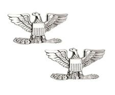 Colonel Captain Eagle Collar Pin Devices Set of 2 US Military Silver P1307 New