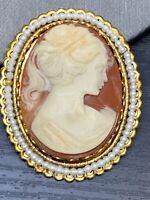 "Vintage Pin Brooch Extra Large  Imitation  Cameo Pearl Edge 2 1/8"""