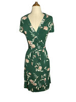 MNG Womens Size Small Green Floral Warp Midi maxi Dress Cap Sleeves
