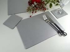 Set 6 CHRISTMAS SILVER Bonded Leather PLACEMATS & 6 COASTERS UK Made TABLE MATS