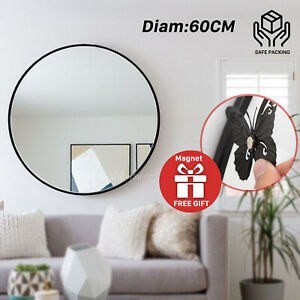 Wall Mirror Round Shaped Bathroom Makeup Mirrors Smooth Edge 60CM Black Frame