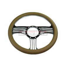 "14"" Chrome aluminum Beige Leather Chevy GM Camaro 9 bolt Hole Steering Wheel"