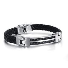 Mens boy black Leather Wristband Bracelet Braided Stainless Steel titanium Clap