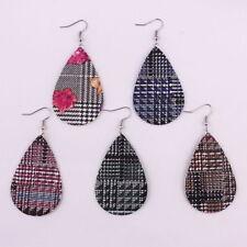 New Bohemian Water Drop Cross Jewelry Leaf Print Pu Leather Teardrop Earrings