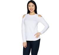 Women with Control Cold-Shoulder Knit Top Color White Size L