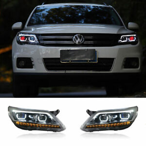 For Volkswagen Tiguan LED Headlights Projector LED DRL 09-11 Replace OEM Halogen