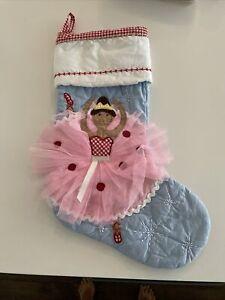 Mint Pottery Barn Kids Brown Hair Ballerina Red Gingham Christmas Stocking Blue