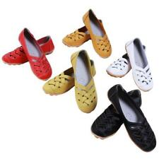 Women Lady Hollow Leather Cut Out Loafer Moccasin Casual Driving Flat Shoes JJ