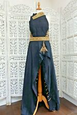 Black raw silk  diamanté gown & churidaar preloved Size UK 10 EU 36 – SKU16059