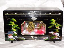 Mid Century JAPANESE Black LACQUER Jewelry/MUSIC Box  w Moving RICKSHAW