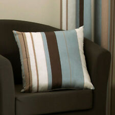 "Whitworth Filled Cushion 18x18"" 43x43cm Inner Pad Jacquard Colourful Stripes Duck Egg"