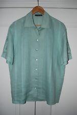 Mint $319 LOUIS FERAUD Women's Silk Green Short Sleeve Shirt Blouse U.S. Size 12