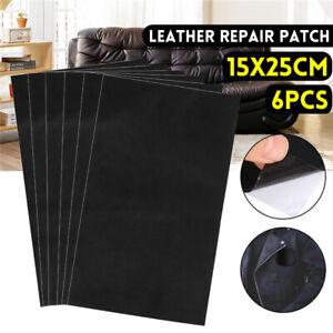 6-tlg Schwarz Lederreparatur Selbstklebend Patch Sofa Reparatur Flicken 15*25cm