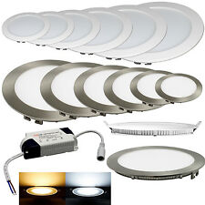 LED Panel Deckenleuchte Wandleuchte Einbau Lampe Leuchte SILBER o. WEIß RUND