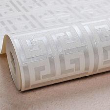 Greek Key Modern Geometric Wallpaper Silver White Metallic Fine Decor