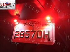 LED License Plate Mount with 2 Circle Brake Tail Plate Light For Motorcycle