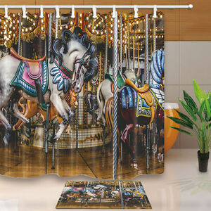 "71x71"" Waterproof Custom Carousel Bathroom Polyester Fabric Shower Curtain Hooks"