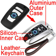 Aluminium Leather Silicon Silver Car Remote Key Cover Case Fob Shell For BMW