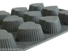 12 FLUTED HEARTS chocolate / brioche silicone bakeware cook ware cake tin pan