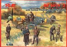 MESSERSCHMITT Bf 109 F-2 W/PILOTS & GROUND CREW(YELLOW NOSE I/JG3) 1/48 ICM RARE