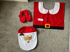 3 Pcs Christmas Decorations Santa Toilet Seat Cover and Rug Bathroom Set Gift