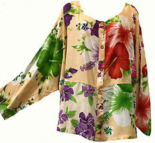 Nwt FUNKY STUFF floral patch dolman rayon TOP BLOUSE 6X 2017 HAWAIIAN COLLECTION