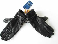 Auclair Glace Women's  Black Leather Fleece-Lined Driving/Winter Gloves, size M