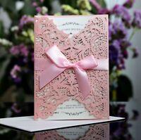 Bride Elegant Laser Cut Floral Wedding Invitation Card