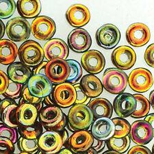 Magic Copper O-beads 3.8x1mm Czech Glass Mini Flat Ring 8 Gram