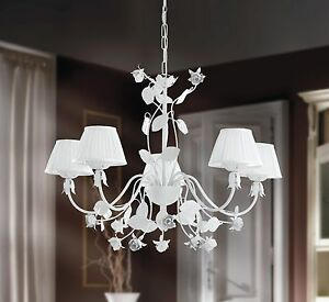 Hanging Chandelier Shabby Chic Wrought Iron Lamp Shades Leaves Flowers Roses