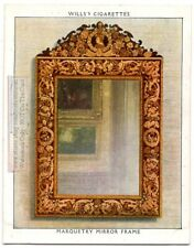 Charles II Marquetry Mirror Frame England Funtiture 1930s Trade Ad Card
