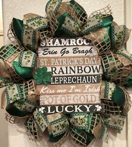 "FARMHOUSE ST PATRICK'S DAY 🍀 Wreath BURLAP Deco Mesh SENTIMENT SIGN 22"" x 22"""
