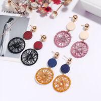 Women Ear Stud Long Drop Dangle Dreamcatcher Wooden Round Earrings Jewelry Gift